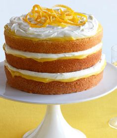 White Chocolate Cake with Lemon Cream: This eye-catching cake is an ideal way to welcome spring, featuring three light and fluffy layers of yellow cake flavored with white chocolate that are separated by a lush cream made with Greek yogurt and lemon curd.