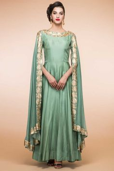Boutique collection, Anarkali churidar silk cheap indian prom suits, Green zari embroidered andaaz party wear now in shop. Andaaz Fashion brings latest designer ethnic wear collection in US Robe Anarkali, Costumes Anarkali, Anarkali Churidar, Churidar Suits, Anarkali Suits, Salwar Kameez, Punjabi Suits, Eid Dresses, Indian Dresses