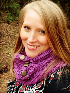 This brioche scarf is knitted flat and the ends are buttoned together to make it into an infinity scarf. It is a great beginner's project if new to the brioche stitch and the pattern includes a link to a video. The buttonholes are possibly the easiest ones you could ever knit. And you don't have to worry about gauge with this scarf, either.