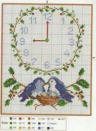 love birds with clock great as a wedding gift Cross Stitch Owl, Cross Stitch Flowers, Cross Stitch Designs, Cross Stitching, Cross Stitch Patterns, Blackwork Embroidery, Cross Stitch Embroidery, Palestinian Embroidery, Plastic Canvas Patterns