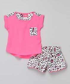 This Hot Pink Top & Leopard Shorts - Girls by Girls Luv Pink is perfect! #zulilyfinds