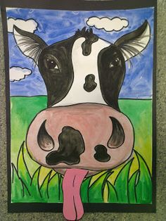 Once upon an Art Room: Close-up Cows! Great idea. Get students to paint their background, then on a separate piece of paper a close up of an animal, cut out the animal close up and glue it onto the background. Should turn out very effective.