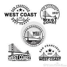 Photo about Vector illustration of San Francisco logo stamp with Golden Gate Bridge. Illustration of badge, concept, mark - 56447758 Gate Logo, Marathon Logo, California Logo, Bridge Logo, Restaurant Logo Design, Cool Typography, Round Logo, Floral Logo, Home Quotes And Sayings