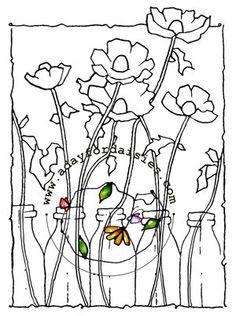 Flowers In Bottles digital stamp by adayfordaisies on Etsy, $4.00