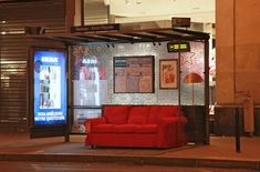 transforming bus shelters into small cozy living rooms! one of the brightest ideas by IKEA Bus Stop Design, Design Ikea, Bus Shelters, Modern Art Movements, Street Marketing, Guerilla Marketing, Swedish House, Urban Furniture, Cozy Living Rooms