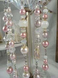 Pink Pearl Christmas Ornament Dangles by LaReineDesCharmes Shabby Chic Christmas, Victorian Christmas, Pink Christmas, Handmade Christmas, Christmas Holidays, Beaded Christmas Ornaments, Christmas Decorations, Diy Weihnachten, Holiday Crafts