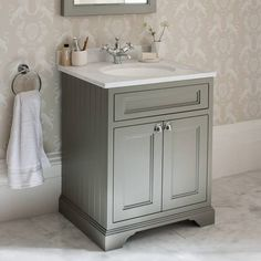 Burlington Olive 650mm Freestanding Vanity Unit With Minerva Worktop & Basin