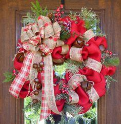 BURLAP and JINGLE BELLS Christmas Wreath by decoglitz on Etsy https://www.etsy.com/listing/114481783/burlap-and-jingle-bells-christmas-wreath