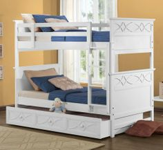 Homelegance Sanibel Twin Over Twin Bunk Bed in White - - Lowest price online on all Homelegance Sanibel Twin Over Twin Bunk Bed in White - Cheap Bunk Beds, Toddler Bunk Beds, Bunk Bed Sets, Childrens Bunk Beds, White Bunk Beds, Futon Bunk Bed, Loft Bunk Beds, Bunk Beds With Storage, Bunk Bed With Trundle