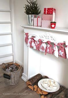 Adventskalender Säckchen Beutel Textil  rot weiß