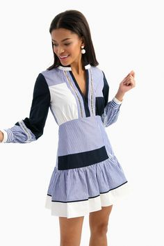 Veronica Striped Yaya Dress in Navy/White by Tanya Taylor - Tnuck