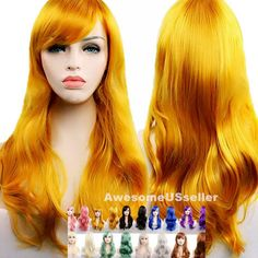 27inch Long Curly Women Cosplay Costume Party Hair Anime Wigs Wavy Wig Full Hair #Fashion #LongCurly Party Hairstyles, Short Bob Hairstyles, Wig Hairstyles, Synthetic Curly Hair, Curly Wigs, Cosplay Wigs, Cosplay Costumes, Anime Wigs, Mild Shampoo