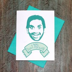 Parks and Rec Tom Haverford Treat Yo Self Greeting Card