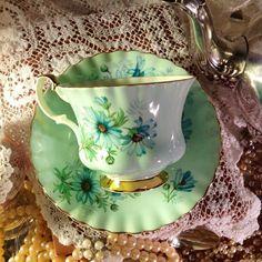 Beautiful Vintage Royal Albert English Bone China Mint Green Tea Cup and Saucer :):