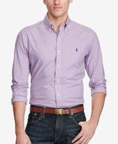 Polo Ralph Lauren Men's Slim-Fit Checked Poplin Shirt