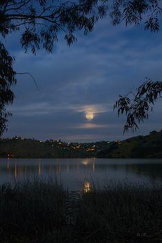 Full Moon Over Lake Hodges, San Diego, California