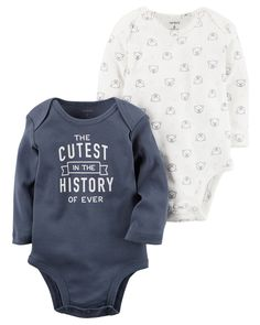 """Baby Boy Carter's """"The Cutest in the History of Ever"""" Graphic Bodysuit & Bear Pattern Bodysuit Set, Size: 24 Months, Blue Toddler Outfits, Baby Boy Outfits, Kids Outfits, Carters Baby Boys, Baby Kids, Boho Baby Clothes, Bear Jacket, Baby Quotes, Baby Sayings"""