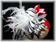 Over The Top Boutique Hairbow with White Feathers on Headband