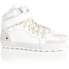 Isabel Marant Étoile White Leather Bessy Hi-Tops ($490) ❤ liked on Polyvore featuring shoes, sneakers, white, leather hi top sneakers, velcro sneakers, white hi top sneakers, leather sneakers e high top shoes