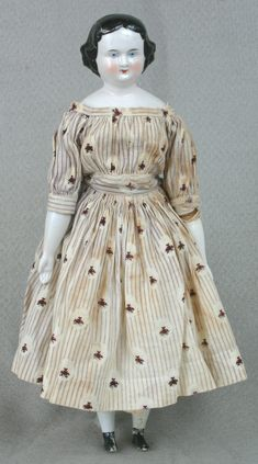 China doll, woman, purple striped print dress, Germany, 1853-1863 Wisconsin Historical Society  www.wisconsinhistory.org