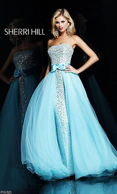 Strapless Sequin Embellished Ball Gown at SimplyDresses.com