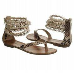 Zigi Soho beaded sandals with snake print Sandals with beaded ankle straps. Zipper up the heel to the ankle. Snakeskin print on the leather. Slightly worn. Zigi Soho Shoes Sandals