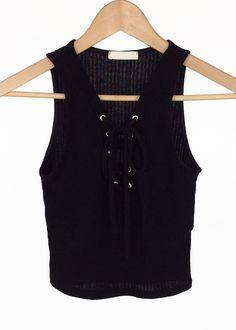 lace-up knit crop top (black)