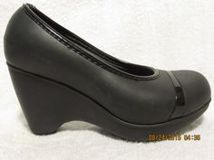 Sz 4 M Crocs Black Wedge #Crocs #PlatformsWedges