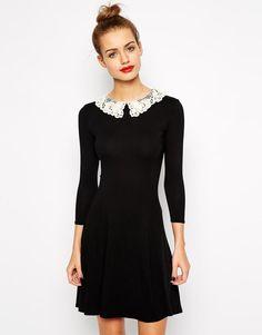 New Look | New Look Crochet Collar Skater Dress at ASOS