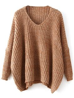 V Neck Oversized Batwing Sweater. Pullover SweatersOversized SweatersKnit  SweatersFall ... 9d9893254
