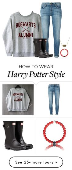 """hogwarts alumni"" by ameliahinton on Polyvore featuring Current/Elliott, Hunter and Kendra Scott"