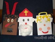 Mikuláš, čert a anděl - papírové tvoření Christmas Time, Christmas Crafts, Christmas Decorations, Xmas, Christmas Ornaments, Holiday Decor, Crafts For 3 Year Olds, Crafts For Kids, Arts And Crafts