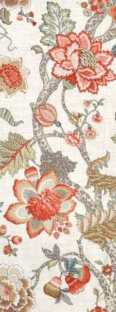 P. Kaufmann Malawi Khaki floral coral Fabric $23.95 per yard