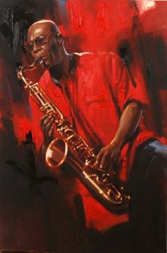 Sax Player by Richard Johnson (oil on canvas 36in x 24in). I adore this painting - I have a love affair with red in paintings! I think I could also pin everything Richard Johnson has painted - his works create an emotional reaction from me.