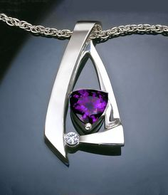 Argentium silver, amethyst and white sapphire pendant designed by David Worcester for VerbenaPlaceJewelry.Etsy.com
