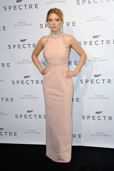 Léa Seydoux wearing Miu Miu pink gown at Spectre premiere on October 29, 2015 in Paris, France.