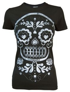 Ladies Sugar Skull black T Shirt by Loungefly