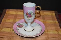 Antique Pink Courting Couple Teacup and Saucer, Pedestal Style #unknown #unknown