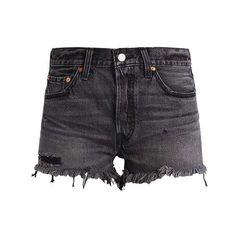 501 SHORT Jeans Short cowboy shorts slashed black ZALANDO (€60) via Polyvore featuring shorts, short jean shorts, jean shorts, denim shorts, short shorts en short denim shorts