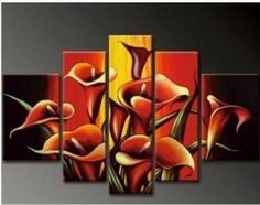 """Hand Painted Art Large Oil Painting on Canvas 5 Piece Wall Art """"Red Calla Lily Flower Painting"""" Abstract Painting Modern Art Large Painting Gallery Wrapped Stretched and Ready to Hang Lily Painting, Oil Painting Flowers, Hand Painting Art, Oil Painting Abstract, Abstract Canvas, Painting Canvas, 5 Piece Canvas Art, Canvas 5, Abstract Flower Art"""
