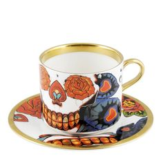The New English - Tattoo Skull Latte Cup & Saucer
