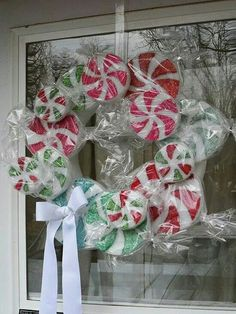 Peppermint Candy Wreath - Crafts by Amanda Christmas Candy, All Things Christmas, Christmas Holidays, Christmas Decorations, Christmas Ornaments, Candy Decorations, Christmas Swags, Whimsical Christmas, Burlap Christmas