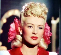 Today's 1940s hair and makeup inspiration, from Betty Grable (December 18, 1916 – July 2, 1973). Her hair is so often beautifully over the top.
