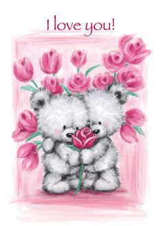 Happy Valentine's Day, I Love You Cute Bear Couple with Pink Roses card. Personalize any greeting card for no additional cost! Cards are shipped the Next Business Day. Valentines Day Drawing, Valentines Art, Happy Valentines Day, Bear Wallpaper, Images Wallpaper, Hugs And Kisses Quotes, Teddy Bear Quotes, Love You Cute, Baby Animal Drawings