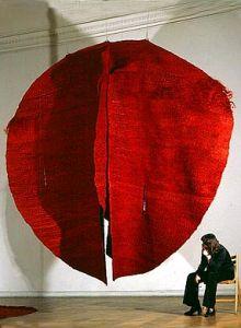 'Abakan Red' (1969) by Polish sculptor Magdalena Abakanowicz (b.1930). Sisal & mixed media, 157.5 x 157.5 x 137.75 in. via Pokate