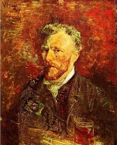 Vincent Van Gogh (1853-1890) ~ Self-Portrait with Pipe and Glass - 1887 (34 ans)
