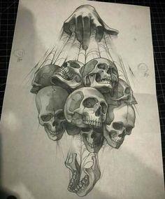 Drawing Ideas Skull Sketch Ideas For 2019 Skull Tattoo Design, Tattoo Design Drawings, Skull Tattoos, Tattoo Sketches, Body Art Tattoos, Art Sketches, Sleeve Tattoos, Art Drawings, Sketch Drawing