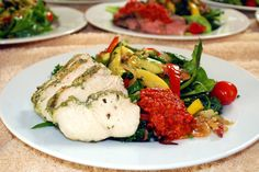 delicious entree salad with grilled marinated chicken, roasted veggies, and fresh greens.