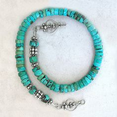 Turquoise and Sterling Silver Necklace by Foret on Etsy, $188.00  Like the clasp.