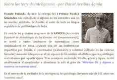 Vicente Ponsoda, durante la entrega del I Premio Nicolás Seisdedos, nos comentaba a algunos de los asistentes una de las muchas anécdotas de Nicolás, el autor de tests en lengua española más prolífico hasta la fecha.